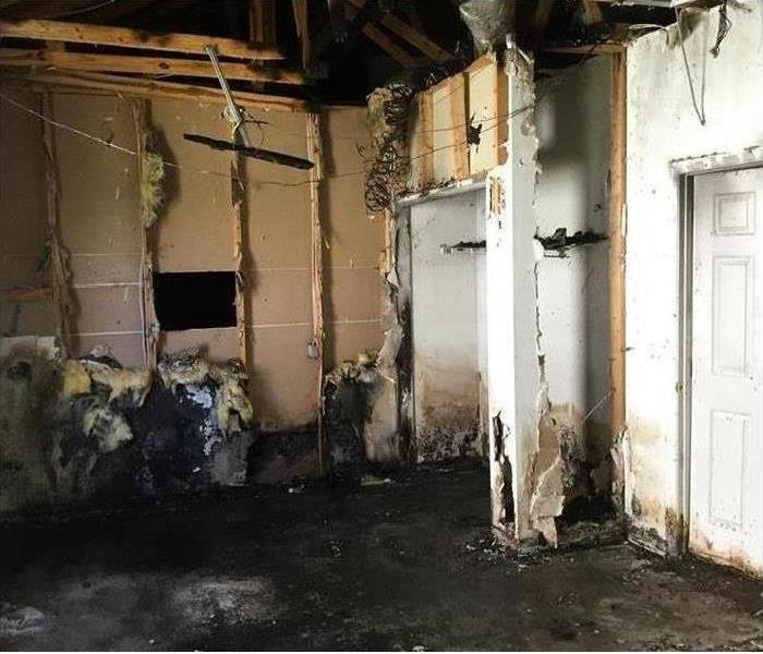 Fire damage causing walls and insulation to be burned