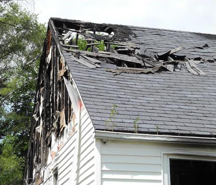 Fire damage to a roof