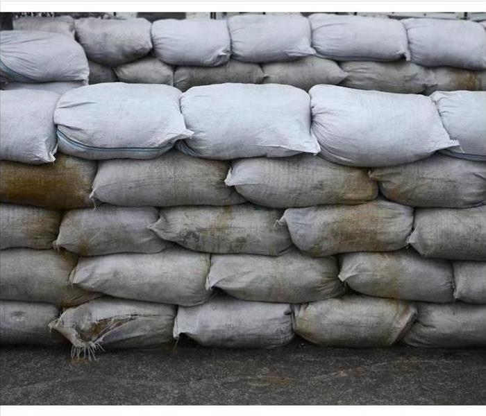 Sandbags lined up to prevent a flood